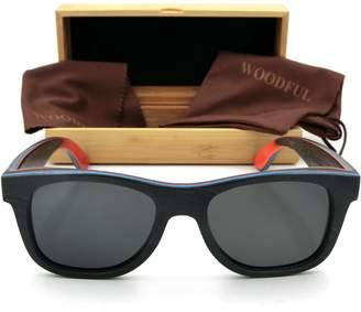 woodful Wooden Glasses Frames Women Men Polarized Sunglasses Skateboard (, Polarized)