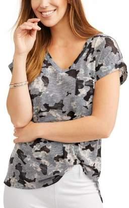 Time and Tru Women's Burnout V-Neck T-Shirt