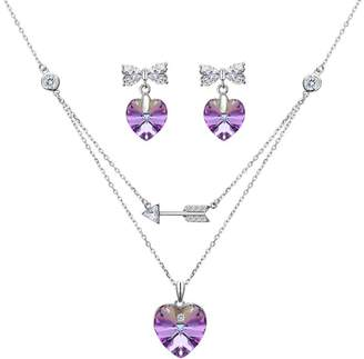 Swarovski EleQueen 925 Sterling Silver Cupid's Arrow Love Heart Bowknot Strand Pendant Necklace Earrings Set Adorned with Crystals