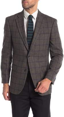 Tommy Hilfiger Olive Blue Windowpane Two Button Notch Lapel Classic Fit Blazer
