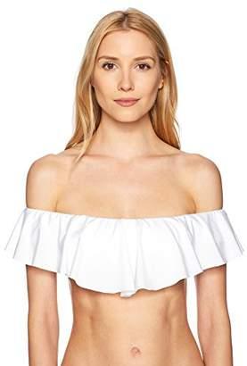 Trina Turk Women's Off Shoulder Ruffle Bandeau Bikini Swimsuit Top