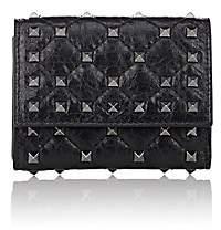 Valentino Women's Rockstud Spike Leather Folding Card Case-Black