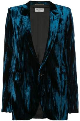 Saint Laurent crinkled velvet one-button blazer