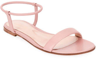 Gianvito Rossi Flat Leather Ankle-Wrap Sandals