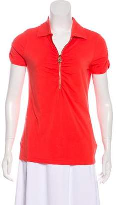 MICHAEL Michael Kors Half-Zip Short Sleeve Top