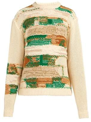 Acne Studios Abstract Jacquard Knit Sweater - Mens - White