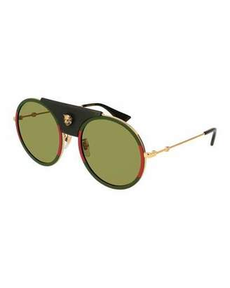 Gucci Round Metal Sunglasses with Removable Black Leather Piece