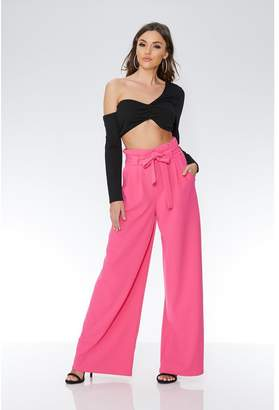 Quiz Hot Pink Crepe High Waisted Paper Bag Trousers