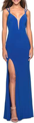 La Femme Strappy Back Fitted Jersey Evening Dress
