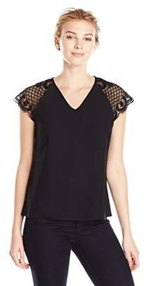 Lark & Ro Women's Short Sleeve Lace V-Neck Top