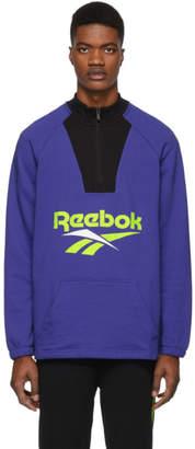 Reebok (リーボック) - Reebok Classics ブルー and ブラック ベクター クォータージップ スウェットシャツ