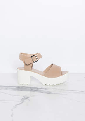 6fa27153230 Missy Empire Missyempire Millie Beige Suede Cleated Wedge Sandals