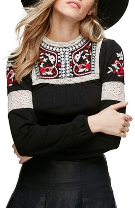 Women's Free People Cozy On Up Embroidered Top $66 thestylecure.com