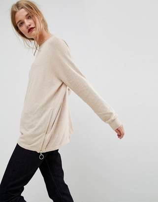 Asos Sweater in Cashmere Mix with Zip Sides