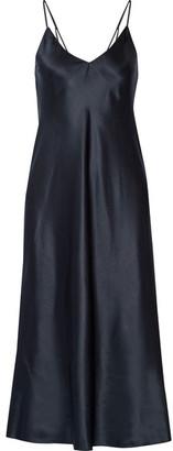 Helmut Lang - Draped Silk-satin Dress - Navy $540 thestylecure.com