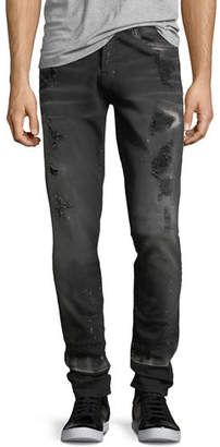 PRPS Distressed Skinny Jeans with Rip/Repair Detail
