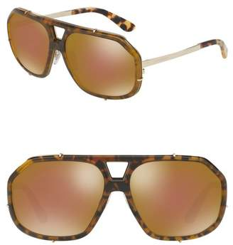 Dolce & Gabbana Metal 61mm Square Aviator Sunglasses