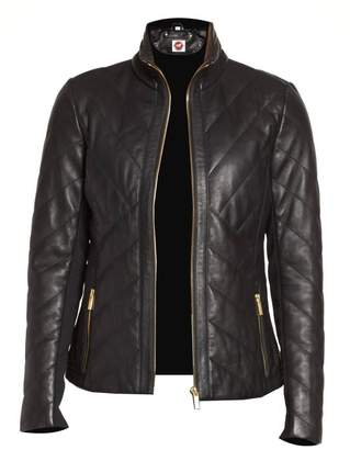 Takitop Ladies Leather Racing Jacket-Ladies Moto Bike Quilted Leather jacket's W/Gold Tone Material/Two Zipped Pockets (XXXL, )