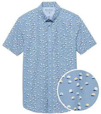 Banana Republic Grant Slim-Fit Luxe Poplin Umbrella Print Shirt