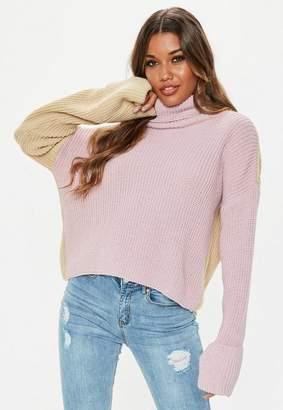 Missguided Petite Lilac Colourblock Turtle Neck Sweater