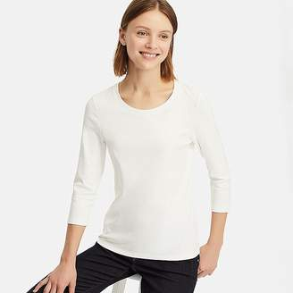Uniqlo Women's 1*1 Ribbed Cotton Crew Neck 3/4 Sleeve T-Shirt
