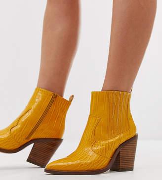 Asos Design DESIGN Wide Fit Elliot western boots in mustard croc