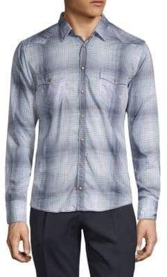 HUGO BOSS Checkered Slim-Fit Button-Down Shirt