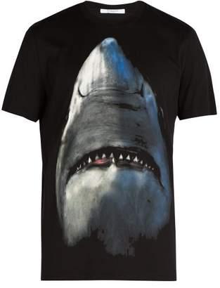 Givenchy Cuban Fit Shark Print Cotton T Shirt - Mens - Black