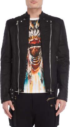 Balmain Black Coated Moto Jacket