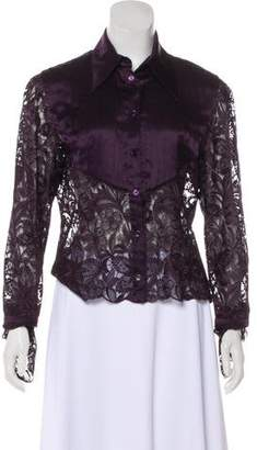 Valentino Lace Button-Up Top