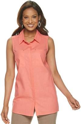 Dana Buchman Women's Sleeveless Button Front Top