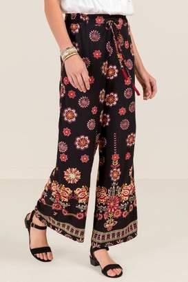 francesca's Lilly Tie Waist Floral Palazzo Pants - Black