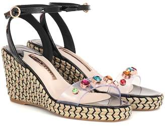 Sophia Webster Dina leather-trimmed wedge espadrilles