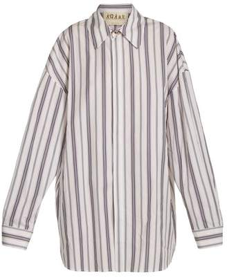 Awake Oversized Striped Cotton Shirtdress - Womens - White Multi