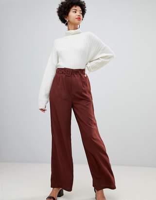 Vero Moda belted high waist wideleg pants