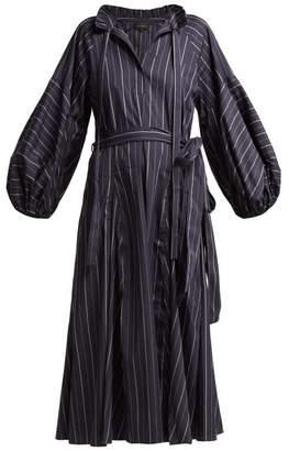 Lee Mathews - Goldie Striped Tie Waist Cotton Dress - Womens - Dark Blue