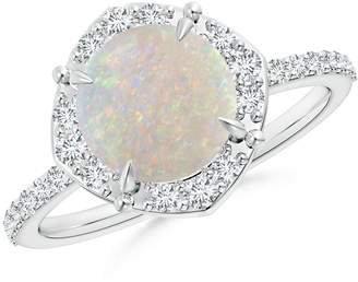 Angara.com October Birthstone - Claw-Set Vintage Diamond Halo Round Opal Ring in 14K White Gold (8mm Opal)
