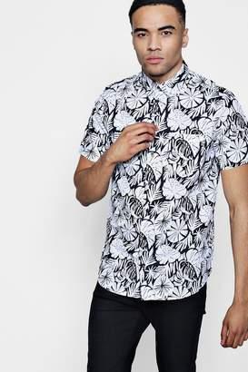 boohoo Leaf Print Short Sleeve Shirt