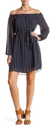 Charles Henry Off-the-Shoulder Stripe Print Dress $99 thestylecure.com