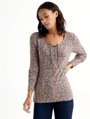 Lucky Brand LACE UP RIBBED HENLEY