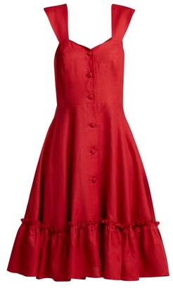 Gioia Bini - Camilla Capped Sleeve Linen Dress - Womens - Red
