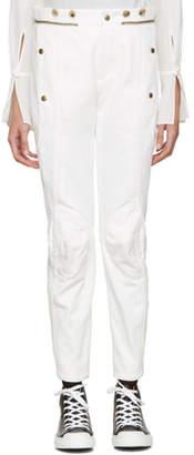 Chloé White Utilitarian Biker Jeans