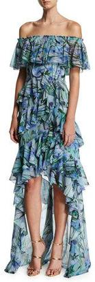 Badgley Mischka Off-the-Shoulder Tiered Floral Chiffon High-Low Gown, Blue/Multicolor $795 thestylecure.com