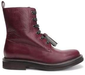 Brunello Cucinelli Embellished Tasseled Leather Ankle Boots