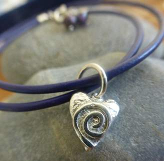 bc72cb70494 Anne Reeves Jewellery Silver Swirly Heart Leather Charm Bracelet
