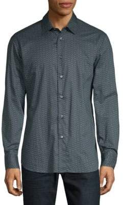 Brioni Geo-Print Cotton Button-Down Shirt