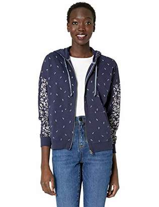Lucky Brand Women's Floral Placed Hooded Zip UP Sweatshirt