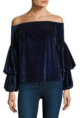 Petersyn Lily Velvet Off-The-Shoulder Top