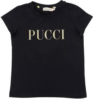 Emilio Pucci Glittered Logo Cotton Jersey T-Shirt