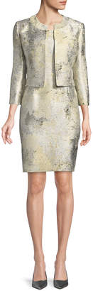 Albert Nipon Sleeveless Marble Sheath Dress w/ Jacket